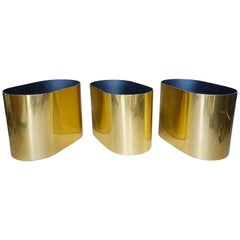 Midcentury Paul Mayen Brass Planters for Habitat