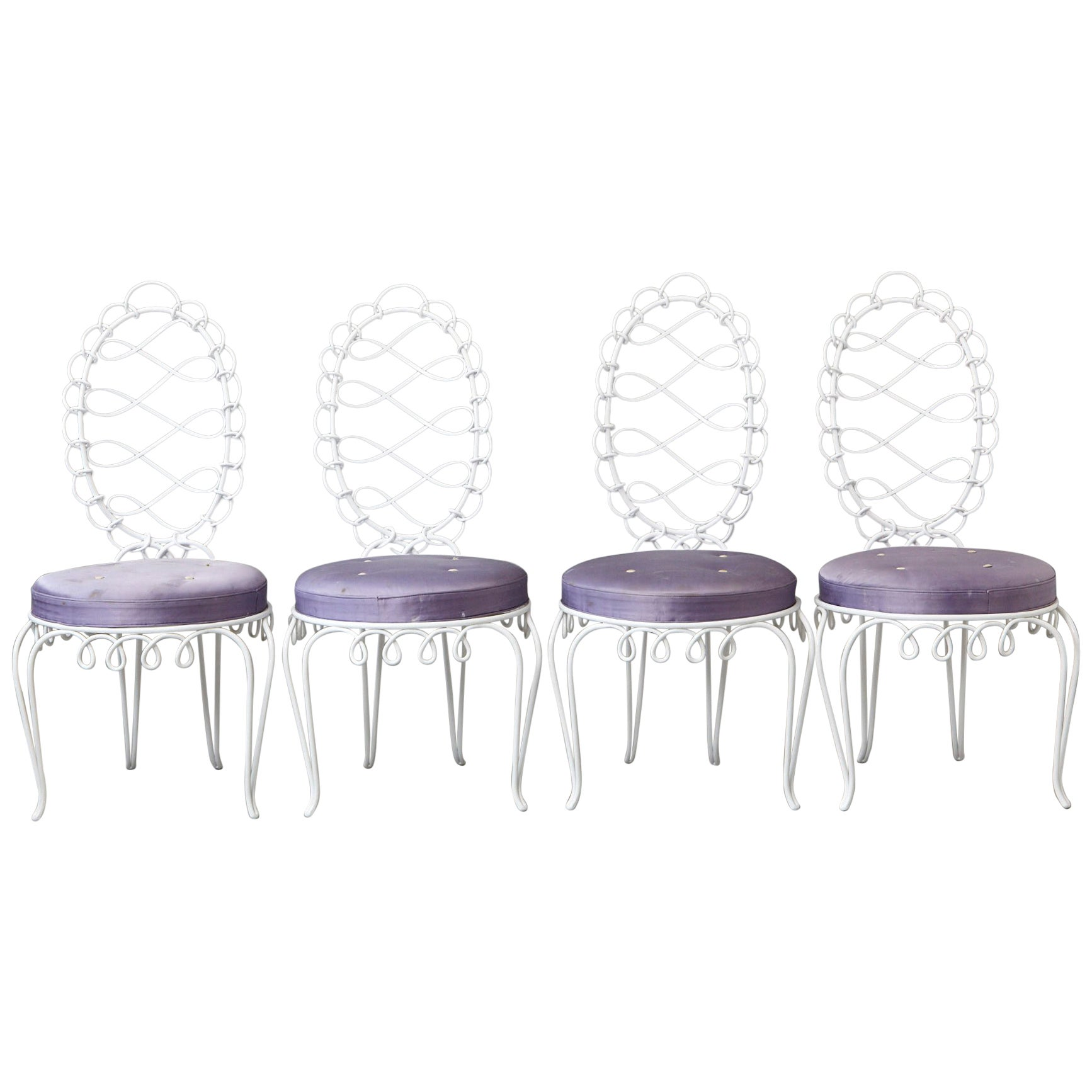 Set of Four René Prou 'Fer Forgé Rond' Iron Side Chairs, France 1940's