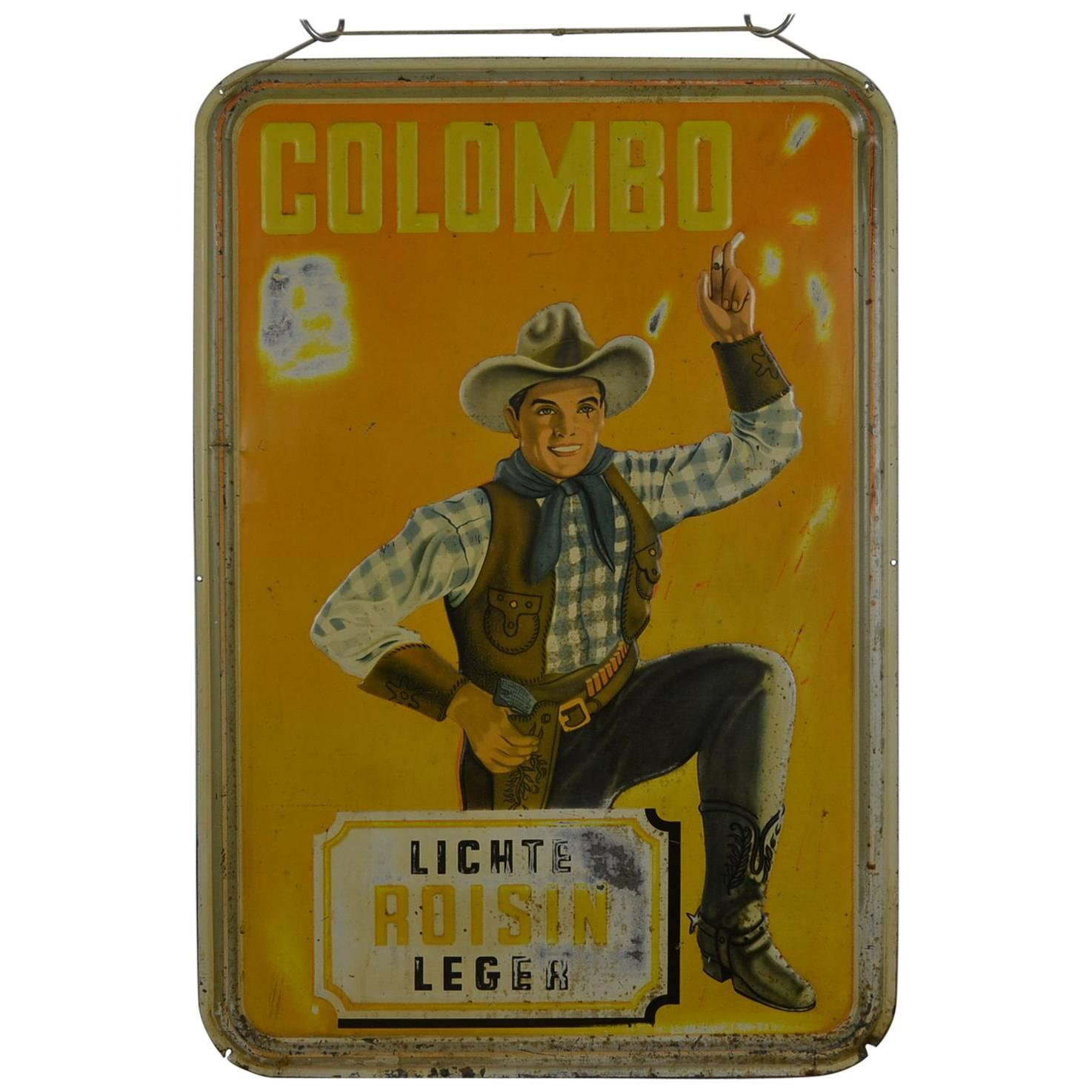 1940s Tin Advertising Sign for Colombo Cigarettes with a Smoking Cowboy