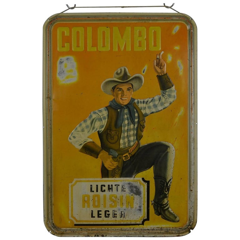1940s Tin Advertising Sign for Colombo Cigarettes with a Smoking Cowboy For Sale