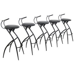 Set of Five Postmodern Italian Bar Stools