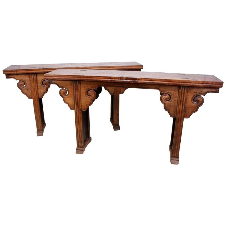 Pair of Elm Alter Tables from Northern China, circa 1820