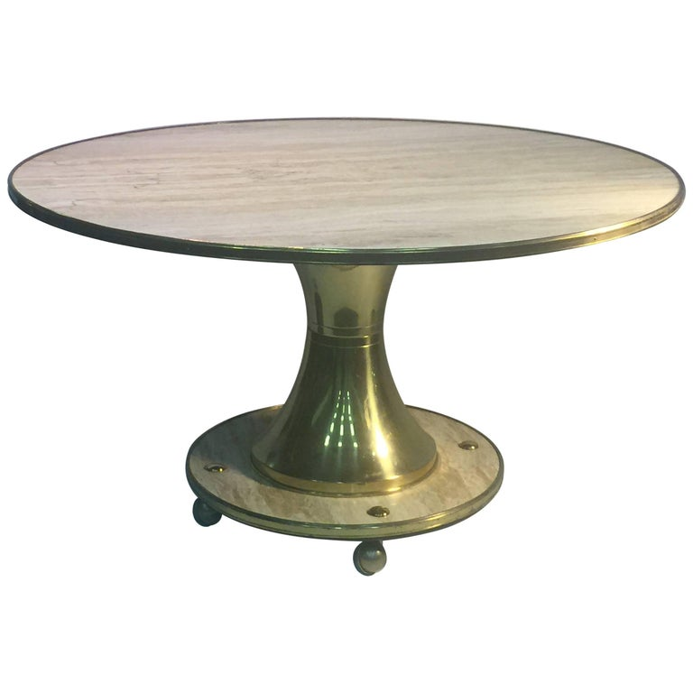 Modernist Italian Travertine Marble and Brass Dining Table