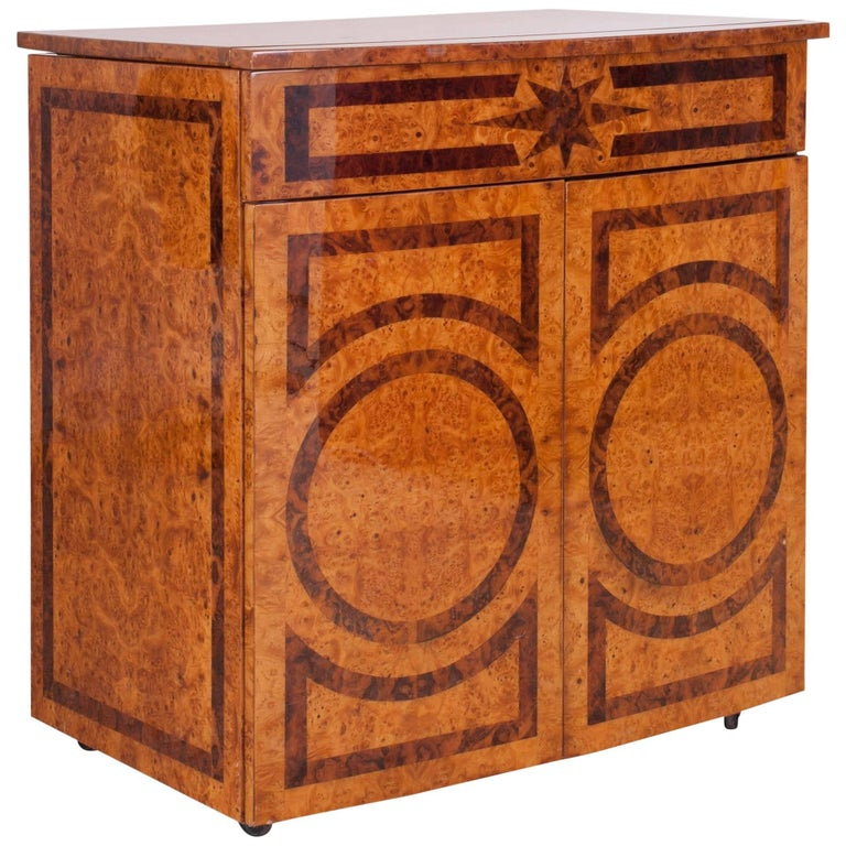 Lacquered Bar Cabinet with Burl Inlay