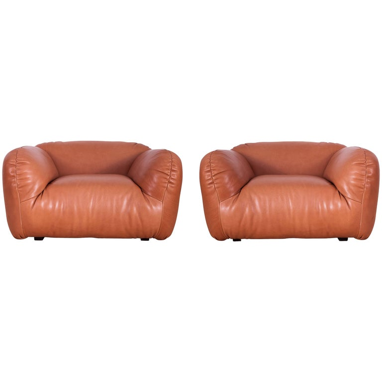 Midcentury Italian Leather Club Chairs For