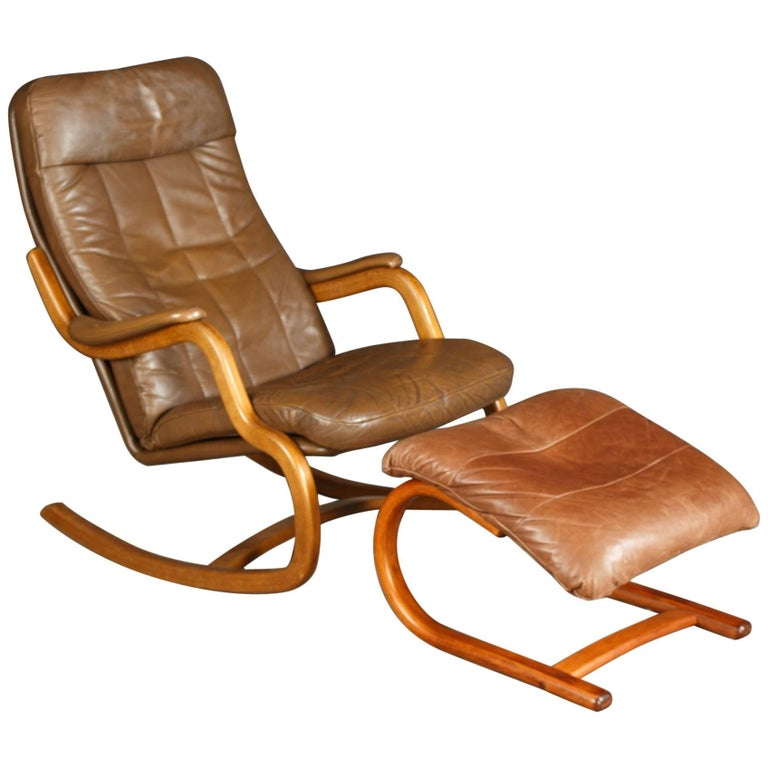Midcentury Danish Lounge Chair with Ottoman and Leather Cushions