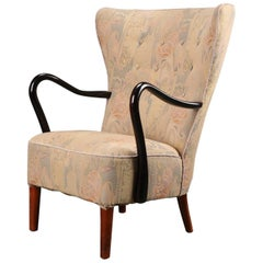 Art Deco Highback Lounge Armchair by Alfred Christensen for Slagelse Møbelfabrik