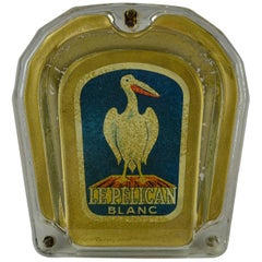 1950s Glass Money Valve, Pelican Bird, Le Pelican Blanc, Switzerland