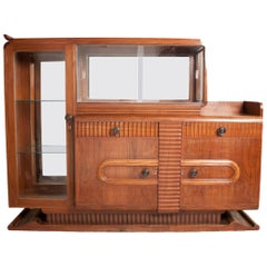 Midcentury Deco Teak Wood and Glass Mirrored Buffet