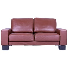 Rolf Benz Ego Designer Leather Sofa Brown Two-Seat
