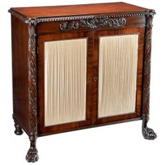 Fine Regency Irish Mahogany Two-Door Side Cabinet or Chiffonier