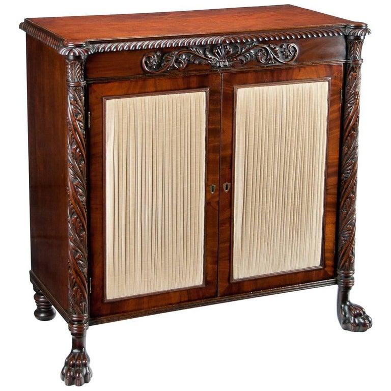 Fine Regency Irish Mahogany Two-Door Side Cabinet or Chiffonier