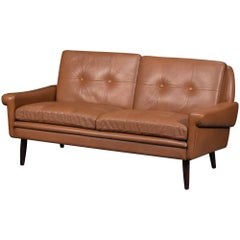 Svend Skipper Midcentury Danish Loveseat Sofa in Brown Leather