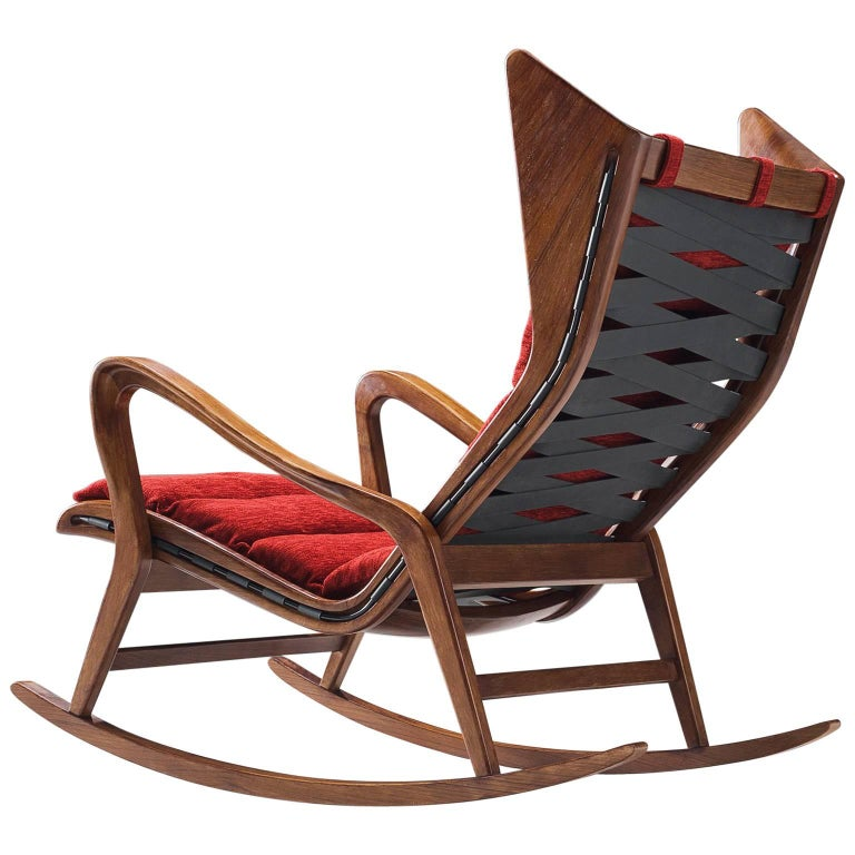 Cassina Walnut Rocking Chair, 1950s