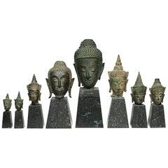 Sukhothai Style Bronze Head of Buddha Shakyamuni on Marble Base circa 1800s