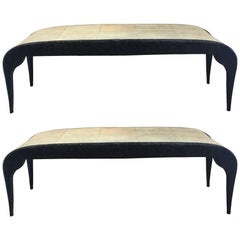 Pair of Bronze and Shagreen Benches by R.Y Augousti