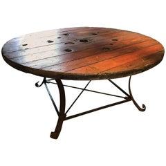 20th Century Rustic Industrial Circular Oak Table
