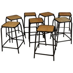 Set of Eight Stacking Counter Stools from Belgium, circa 1970