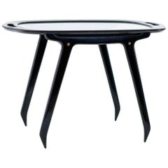 Italian Black Wood and Glass Coffee or Service Table by Cesare Lacca, 1950s
