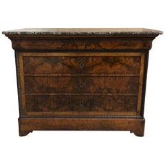 French Louis Philippe Burl Walnut Commode