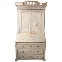 Swedish Louis XVI Painted Bookcase Secretary