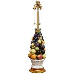 Italian Ceramic Fruit Topiary Table Lamp by Marbro
