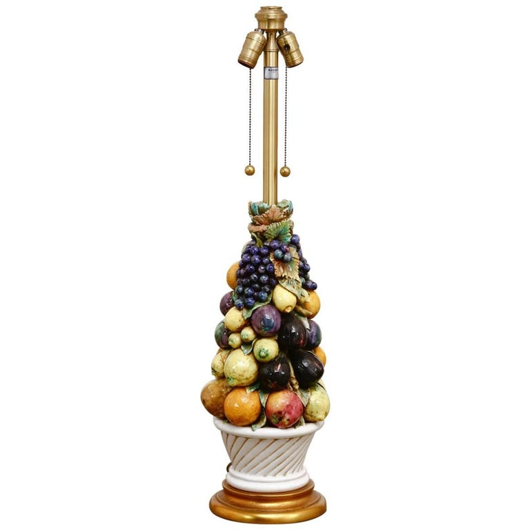 Italian Ceramic Fruit Topiary Table Lamp by Marbro