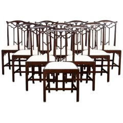 Set of 12 English Victorian Gothic Revival Dining Chairs