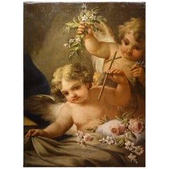 Two Angels Carrying Bunches of Flowers, Follower E. Sirani, Italy, 18th Century