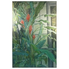 Signed Large Modern Tropical Flowers in Green House Painting