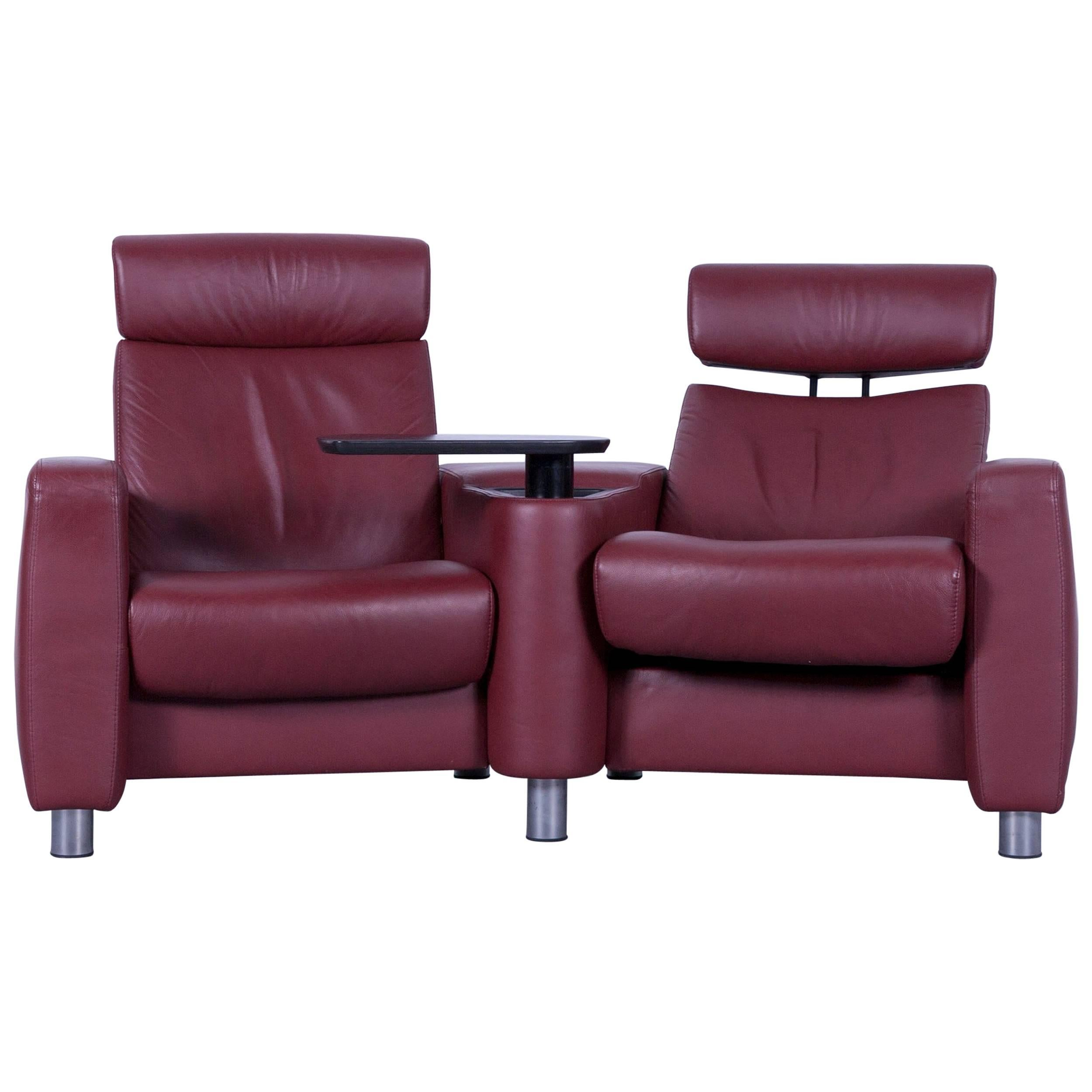 Ekornes Stressless Arion Leather Cinema Sofa Red Recliner For Sale