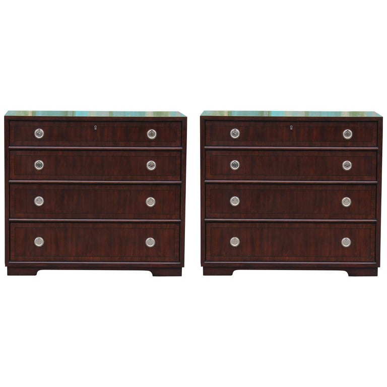 Pair of Modern Walnut Henredon Bachelor's Chest with Silver Ring Pulls
