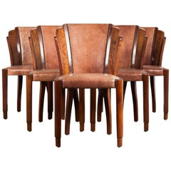 Set of Six Art Deco Dining Chairs in Walnut Burl and Cognac Leather