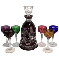 Bohemian Colored Cut to Clear Decanter Set