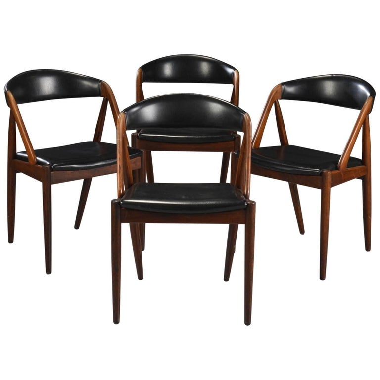 Set of Four Rosewood Danish Modern Dining Chairs by Kai Kristiansen
