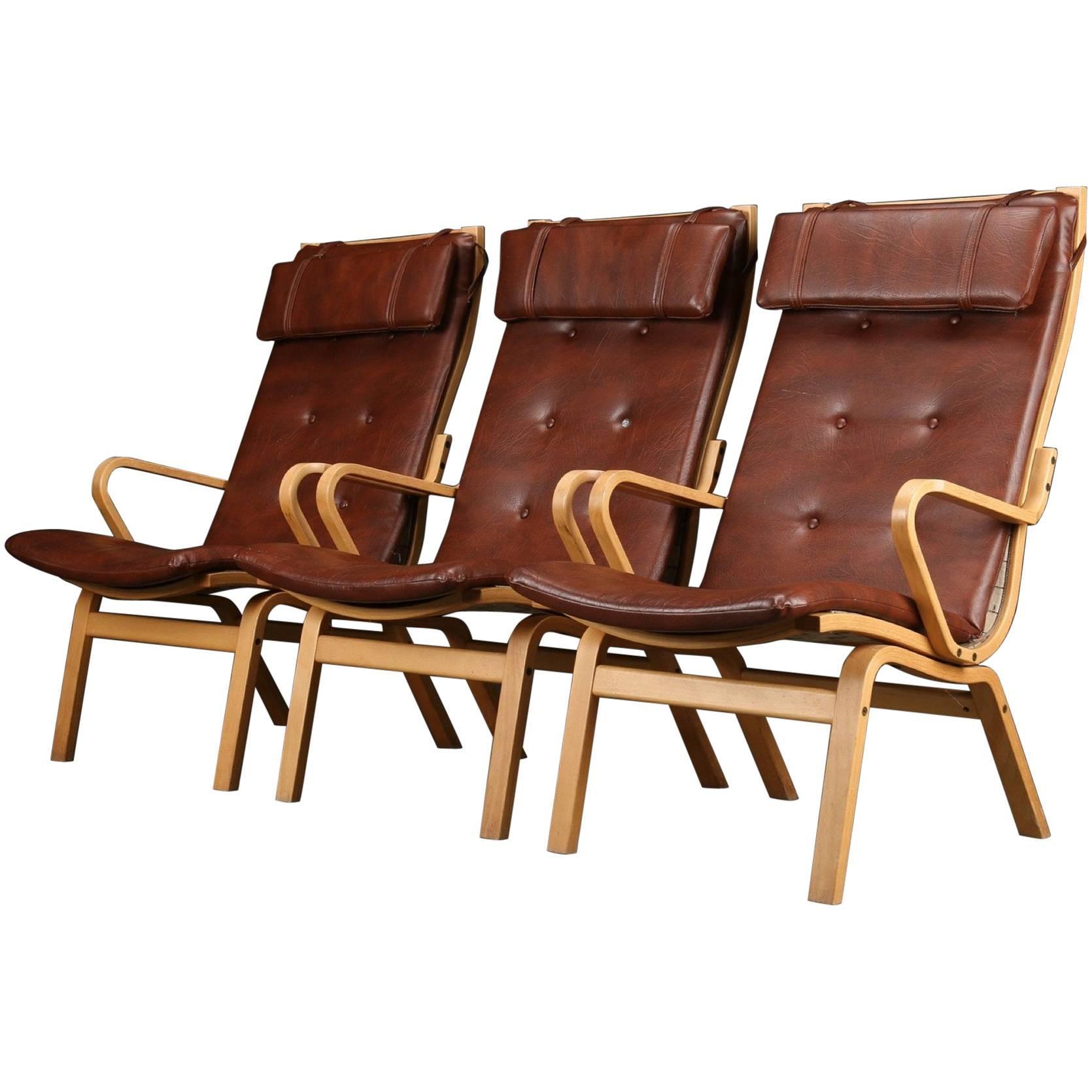 Set of Three Finn Østergaard Midcentury Swedish Armchairs w/ Round Coffee Table