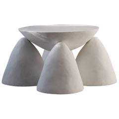 Contemporary Sculpted Plaster Four-Legged Twyla Four Side Table
