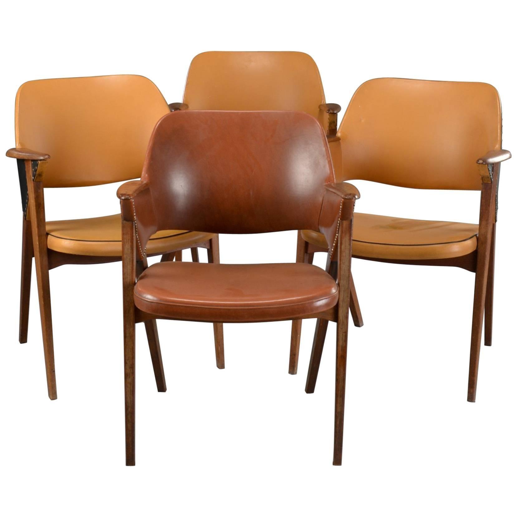 Set of Four Danish Modern Midcentury Teak Armchairs