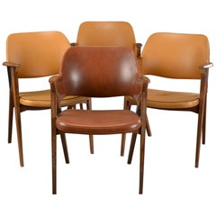 Set of Four Danish Modern Midcentury Teak Armchairs