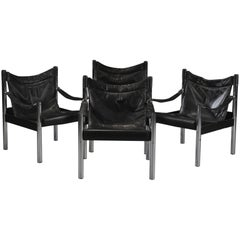 Four Midcentury 1960s Chrome Safari Chairs in Black Leather