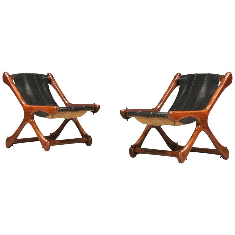 """Don S. Shoemaker """"Sloucher"""" Rosewood & Leather Sling Chairs for Señal Furniture"""