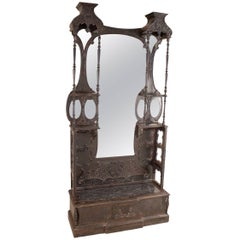 Anglo-Indian Hall Mirror with Bench