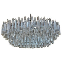 Signed Camer Glass Prism Mid-Century Chandelier, 1960s