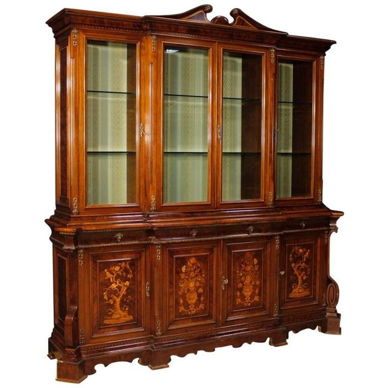 Italian Bookcase in Inlaid Walnut, Burl, Rosewood, Maple, Tulipwood, Fruitwood