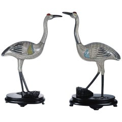 Large Pair of Chinese Cloisonné Enamel Cranes on Wood Stands