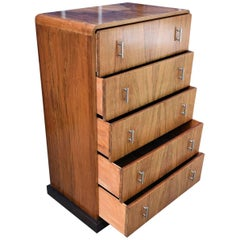 1930s Art Deco English Chest of Five Drawers