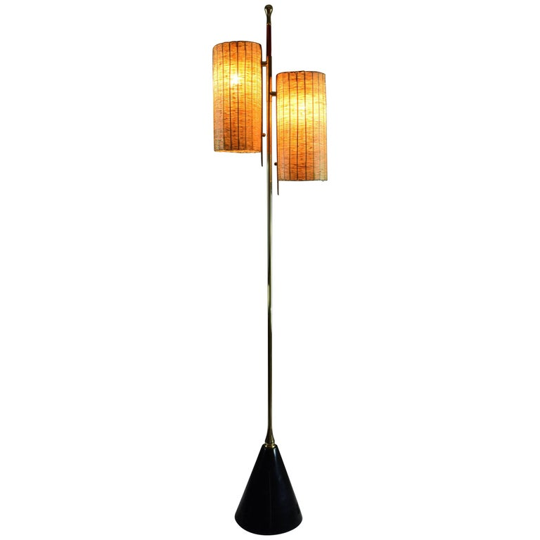 Equilibrium-III Contemporary Rattan and Marble Floor Lamp, Flow Collection
