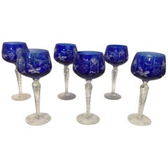 Set of Six Blue Cut to Clear Wine Glasses