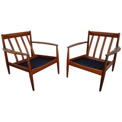 Teak Lounge Chairs by Grete Jalk for France & Daverkosen