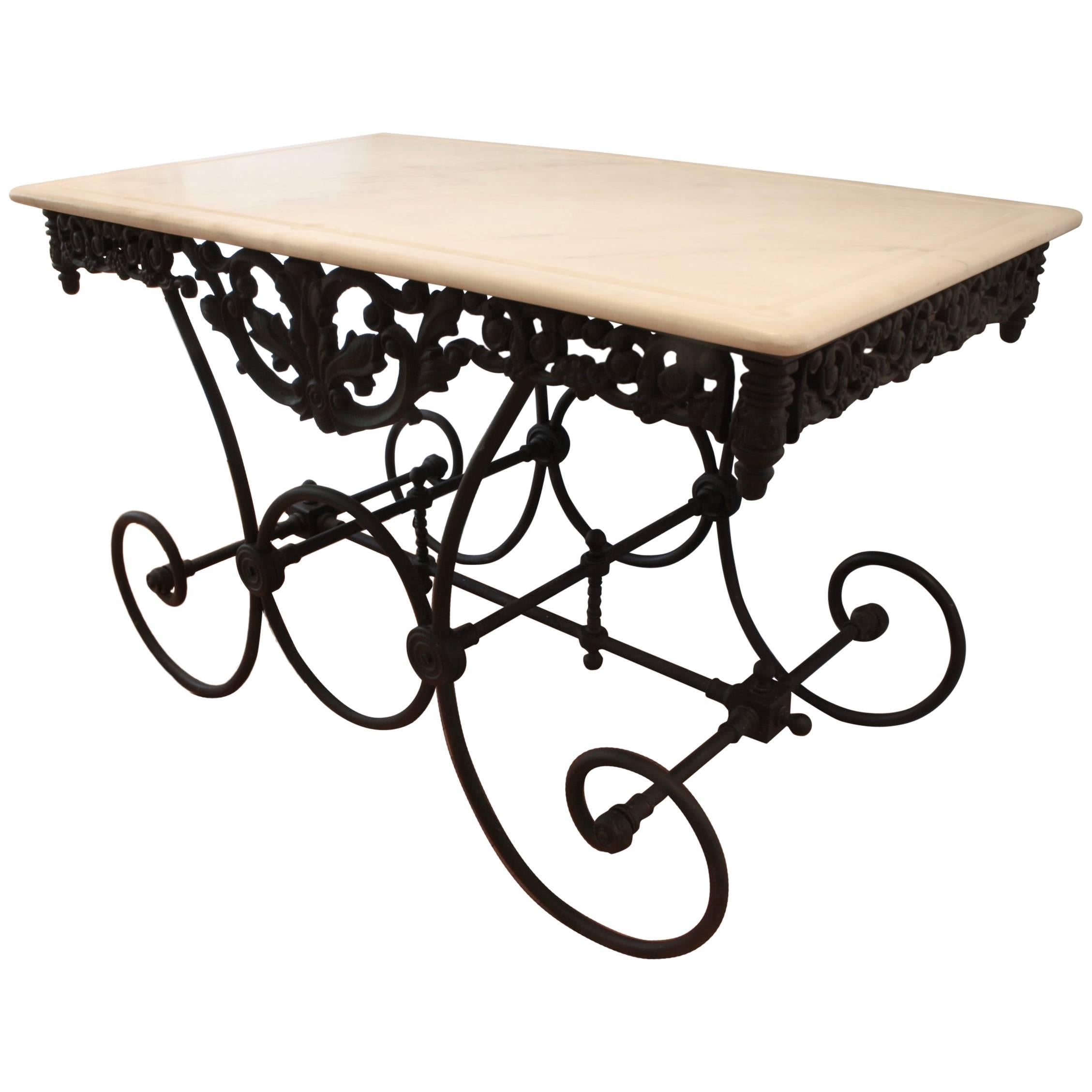 French Cast Iron and Marble Baker's Table